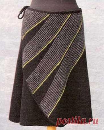 Юбки с косыми полосами, связанные крючком и спицами