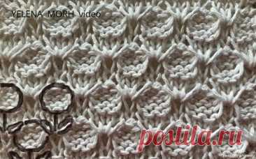 Узор ''Цветочная полянка''. Видео МК   Вязание спицами для начинающих