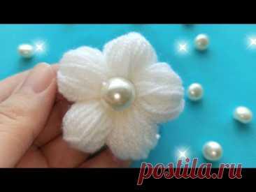 Цветы из пряжи без спиц и крючка/thread flowers with your finger