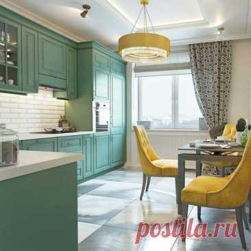 Приятная кухня во всех отношениях. И по цвету хорошее сочетание и по дизайну.