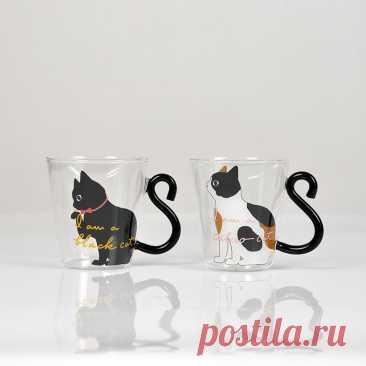 250 мл с черными котиками и Стекло Кофе кружка комплект рукоятки животный форменный молока воды кружки для сока Чай чашка японский Стиль Kawaii подарок для дома Кружки    АлиЭкспресс