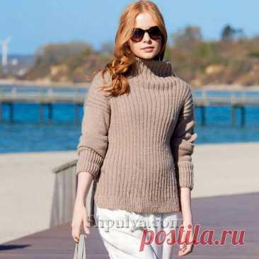 Бежевый пуловер с воротником стойкой — Shpulya.com - схемы с описанием для вязания спицами и крючком