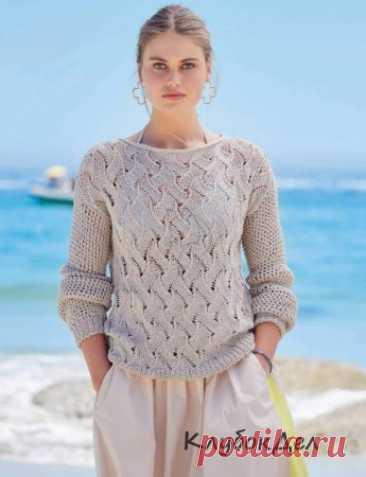 Песочный ажурный пуловер Красивая ажурная структура для лифа в сочетании с полупрозрачным сетчатым узором для рукавов - получаем неотразимый летний пуловер, который комбинируется практически с любым низом.Размеры: 36/38 (40/42) 44/46Вам потребуется: пряжа (100 % хлопка; 130 м/50 г) - 450 (500) 550 г песочной; спицы № 4;