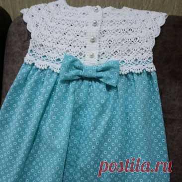 Комбинированное платье – Шитье + вязание в детской одежде (ИДЕИ ДЛЯ ВДОХНОВЕНИЯ) – Журнал Вдохновение Рукодельницы
