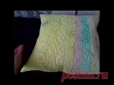 Подушка из обрезков синтепона и декоративная наволочка.