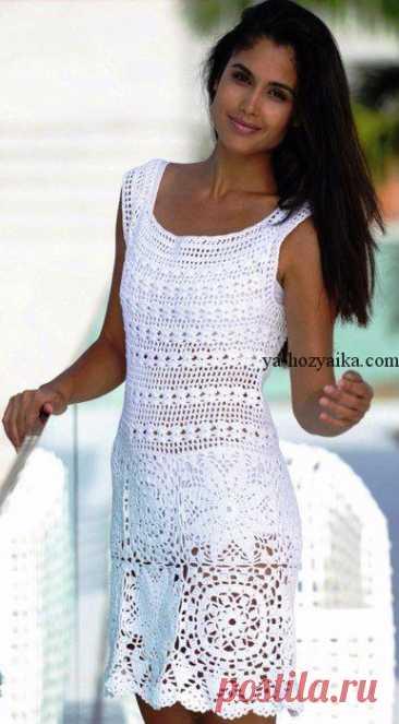Кружевное платье крючком схемы. Схемы вязаных платьев крючком для лета