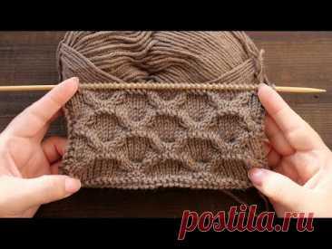 Ячейки из кос спицами 🥜 Cables knitting pattern