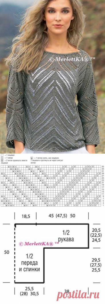 Simple and effective jumper ☆ knitting by spokes