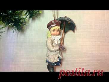 """Ватная игрушка """"Девочка с зонтиком""""/Как сделать ватную игрушку"""