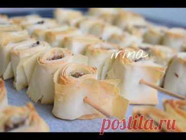 Пирог из теста фило с мясным фаршем ხორციანი ღვეზელები ფილოს ცომში xorciani gvezelebi filos comshi