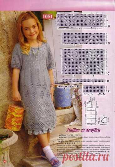 Платье для девочки спицами #вязаный_узор #узор_спицами #спицы #вязаное_платье #платье_спицами #вязание_детям