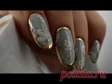 🖤Нежный винтаж   Цветы на ногтях / Дизайн ногтей золотой втиркой / Слайдер дизайн IBDI /