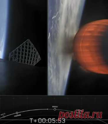 НЛО взлетел в открытый космос пролетев мимо ракеты СпейсХ