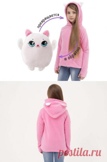 Толстовка для девочки Кофтёныши Котёнок Уля  Цена  - 2 400 ₽. Цвет - Розовый. Размеры — 86-164 см, 1,5 года - 14 лет.