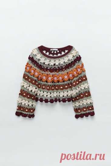Цветочный свитер крючком, понятная схема в картинках. #вязаниние@bohostyle
