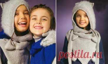 Шапка, шарф и варежки: вязаный детский комплект спицами