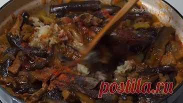 Жареные баклажаны с мясом по-корейски.