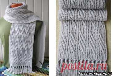 Узоры в для мужского шарфа   Вязание спицами для начинающих