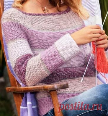 Интересные полоски - оригинальное изделие. Вязание спицами. | Марусино рукоделие | Яндекс Дзен