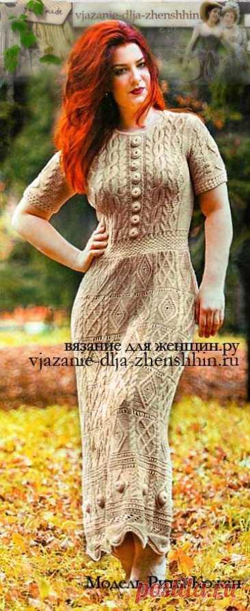 Вязаное платье спицами для женщин.