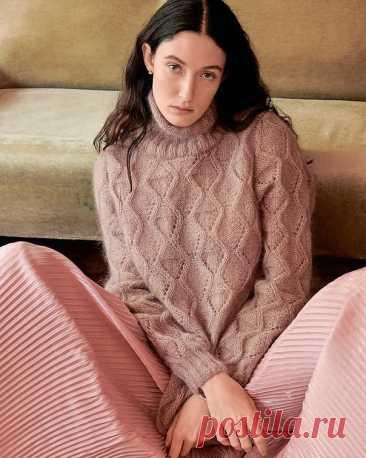 Вязание свитера с ромбами спицами