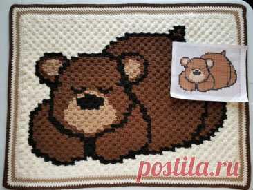 Сонный Медведь Детское Одеяло-Бесплатно Вязание Крючком Шаблон-Highland Hickory Dsgn