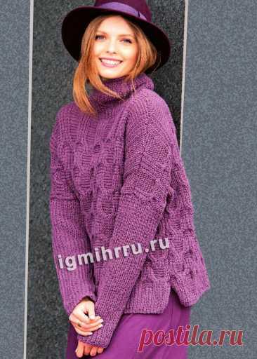 Лиловый свитер с узором из «кос». Вязание спицами со схемами и описанием