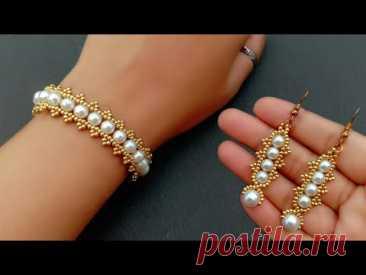 How To Make Jewelry For Beginners//Bracelet & Earrings//Beaded Jewelry// Useful & Easy