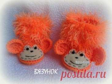 Вязаные пинетки—обезьянки