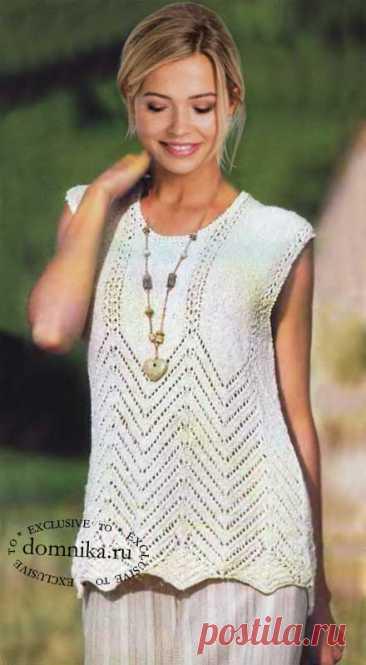 Вязание спицами летнего топа из хлопка для полных женщин размер 52