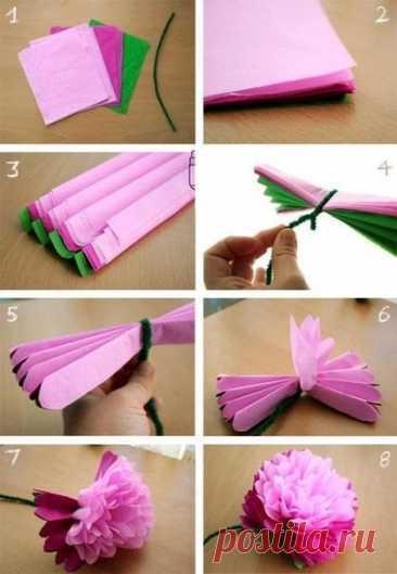 Цветы из гофрированной бумаги: красивее живых