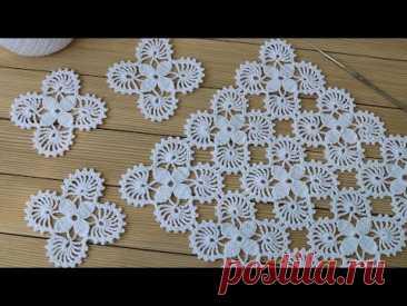 Простой КВАДРАТНЫЙ МОТИВ вязание крючком для начинающих СХЕМА мотива Crochet motif tutorial patterns