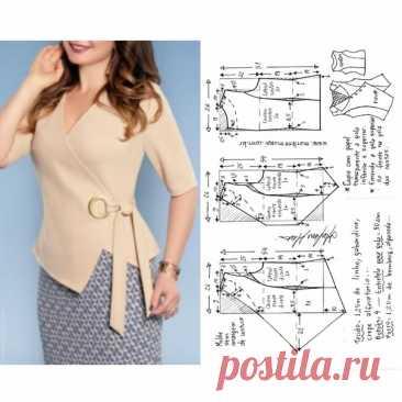 Выкройка блузки с запахом50 размер рос.  #шитьблузку#блузкасзапахом#рукоделие#шитье#пошив#моделированиеблузки