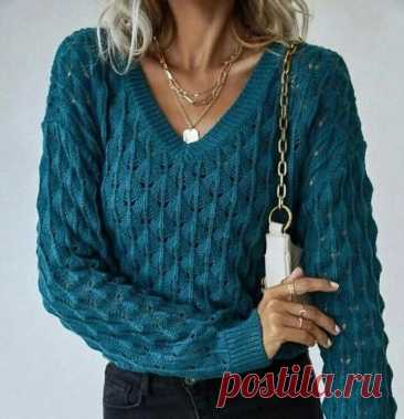 """Интересный узор для пуловера спицами """"Сегодня у тебя, возможно, будет встреча с судьбой, и ты должна быть великолепно одета"""" Коко Шанель Пуловер относится к базовым вещам гардероба современной женщины. Что выбрать? Классический не претензионный узор или что-то вычурное?"""