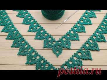 УГЛОВАЯ ажурная КАЙМА простое ВЯЗАНИЕ КРЮЧКОМ для начинающих Crochet Border for Doily Tablecloth