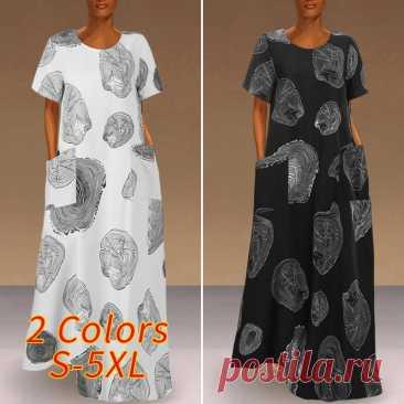 Женское летнее платье макси 2021, модный сарафан VONDA с принтом, повседневные платья с коротким рукавом, женские платья с круглым вырезом, женское платье 5XL|Платья| | АлиЭкспресс