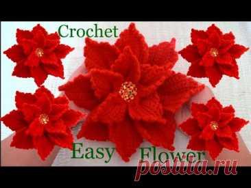 Como hacer flores Nochebuena con una sola tira tejida a Crochet