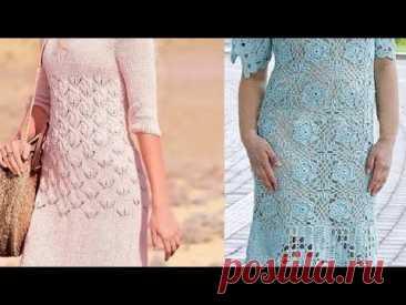 Платья спицами и крючком со схемами - YouTube