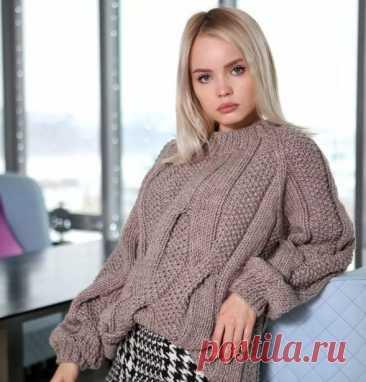 Шикарный пуловер с жемчужным узором