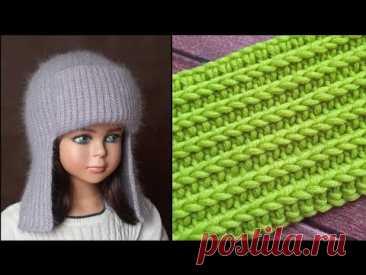 Классный УЗОР КРЮЧКОМ для моей шапки ушанки. Не отличить от спиц! | Natali_crochet | Яндекс Дзен