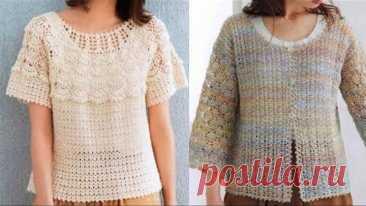 Женские кофточки и жакеты крючком - Women's blouses and crocheted jackets