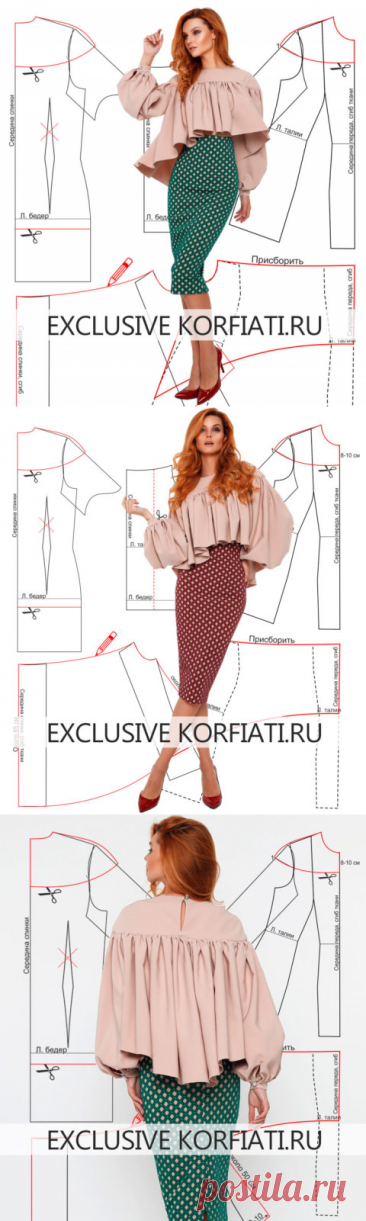 Blouse pattern with sleeves and the coquette from Anastasia Korfiati