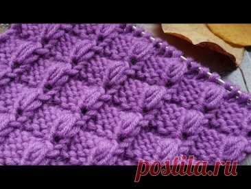 Вяжем объёмные клеточки спицами 🌺 knitting pattern.