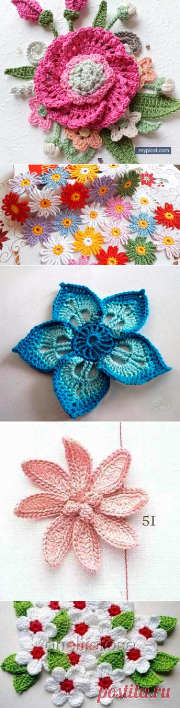 Вязаные цветы - 40+ простых схем для начинающих | HandMadeObzor | Яндекс Дзен