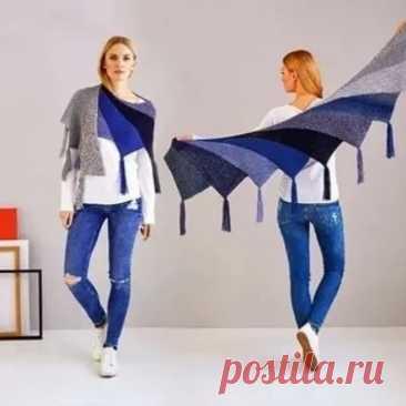 Необычная, стильная ступенчатая шаль