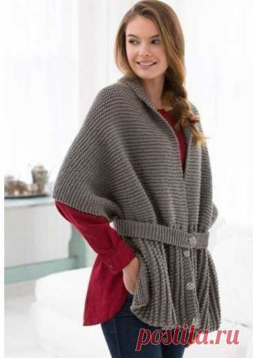Очаровательный шарф-свитер, вяжем спицами