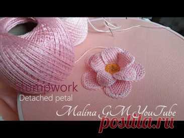 Объёмная вышивка | Розовый цветок | часть 2