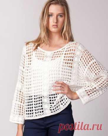 La blusa veraniega chiné – la red tejido por el gancho. La blusa blanca la red, vinculada por la cinta, | la Labor de punto para toda la familia