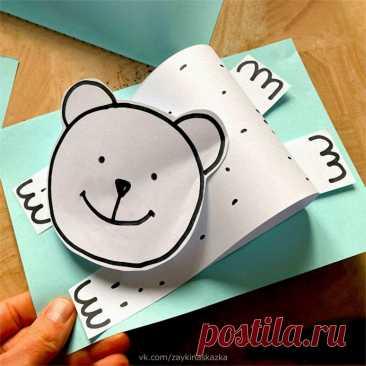 Объёмные медвежата из бумаги