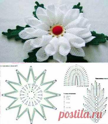 Милые вязаные цветочки оригинальных форм